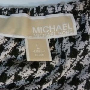 MICHAEL Michael Kors Tops - MICHAEL KORS BLACK PRINT TANK SILVER LEATHER CORD